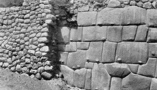 muro inca antes y después