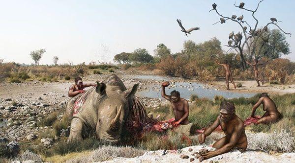 antepasados comiendo carne