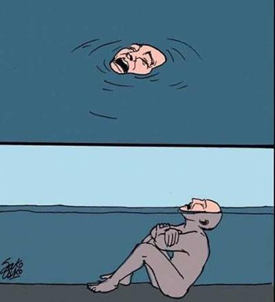 persona ahogándose